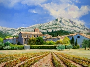 tableau paysages provence sainte victoire campagne vigne : Village au pied de la Sainte Victoire