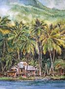 tableau paysages antilles foret tropicale cabane de pecheur : Bord de mer à la Dominique