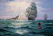 tableau marine marine ,a voile chateau d if marseille : Soleil levant sur le Château d'If