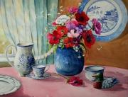 tableau fleurs anemones vase porcelaine nature morte : Bouquet d'anémones