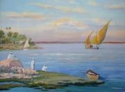 tableau paysages fleuve feloupe rivage palmiers : Le soir au bord du Nil