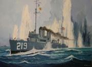 tableau marine guerre du pacifique us navy marine japonaise naufrage : USS Edsall