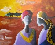 tableau autres femme afrique desert lumiaire : DISCUSSION DANS LE DESERT