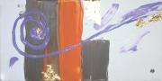 tableau abstrait abstrait spirale feuille d or ligne : FLASH