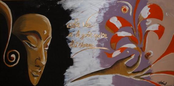 TABLEAU PEINTURE BOUDDHA MEDITATION LOTUS EVASION Acrylique  - MEDITATION
