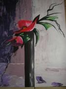 tableau fleurs fleur vase nature morte rose : ZEN FLOWER
