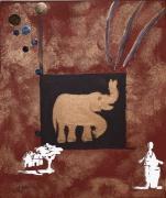 tableau animaux elephant dore marron animaux : ELEPHANT