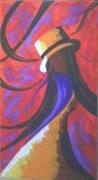 tableau personnages mannequin femme chapeau podium : PODIUM