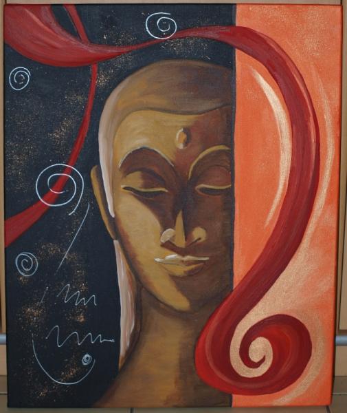 TABLEAU PEINTURE BOUDDHA SPIRALE REFLEXION MEDITATION Acrylique  - SONGE