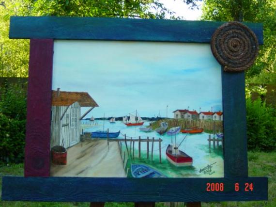 TABLEAU PEINTURE Marine Peinture a l'huile  - maison de pêcheur