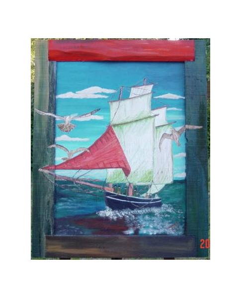 TABLEAU PEINTURE Marine Peinture a l'huile  - voilier