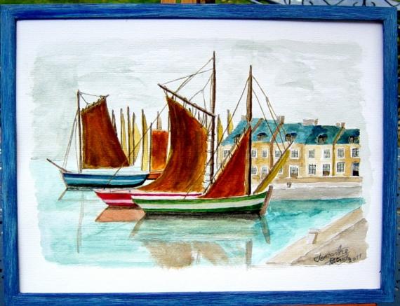 TABLEAU PEINTURE Morbihan La Sarthe bateau Pêcheur Marine Aquarelle  - bateaux au port