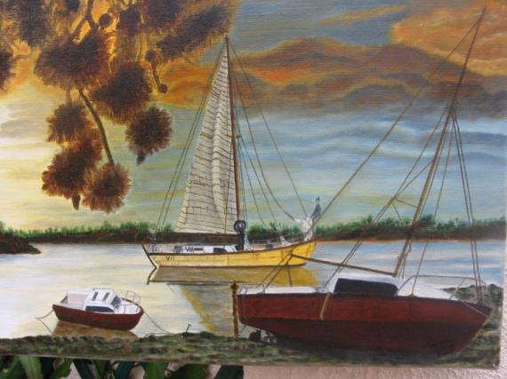 TABLEAU PEINTURE Marine Peinture a l'huile  - départ en mer