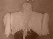 art textile mode autres bolero tricot fillette vetement : Boléro fillette blanc noeud ruban