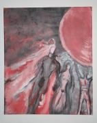 tableau abstrait nus homme femme abstrait : BLACK HOLE SUN