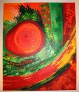 tableau abstrait mouvement rouge abstrait etnique : CHANGE'MENT