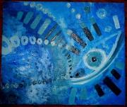 tableau abstrait bleu yeux abstrait vague : Bul'Heure