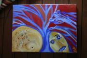 tableau abstrait arbre abstrait bleu visage : AL'TO