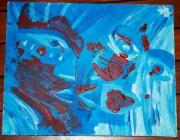 tableau abstrait oeil visage bleu abstrait : 2 SANS 3 peuvent ETRE