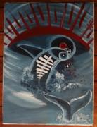 tableau abstrait baleine mer eau ocean : EAUCégnéANt