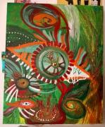tableau abstrait nature oeil abstrait vert : EL TERCERO OJO DEL CONOCIMIENTO