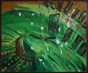 tableau abstrait building vert pluie soleil : PLUIE INDUSTRIELLE