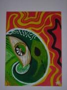 tableau abstrait pasteque oeil couleur abstrait : L'OEIL DE LA PASTEQUE