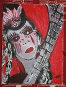 tableau abstrait larmes fille guitare abstrait : CIELO ROJO GUSTO SANGRE
