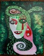 tableau abstrait serpent vert visage regard : LES CONFINS D'UN CONFLIT SANS FIN : notre faim