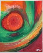 tableau abstrait abstrait rose mouvement orange : LE MOUV' MENT