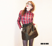 """art textile mode simple joli dore unique : Jupe courte """"SILKA"""" à poches passepoilées en soie vert"""
