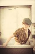art textile mode abstrait drapes decoupe atypique retro : Veste courte, boléro drapé manches courtes noire et jaune moutar