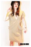 art textile mode autres vintage elegant createur piece unique : Robe beige structurée et glamour créateur 100% laine fine