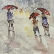 tableau personnages pluie semiabstrait bourrasque : Sur la place