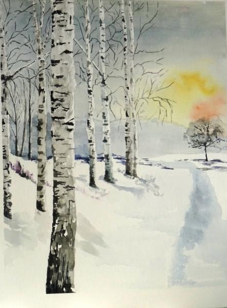 TABLEAU PEINTURE bouleaux neige forêt hiver bouleaux hiver Paysages Aquarelle  - Lointain