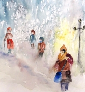 tableau personnages bourrasque neige sem tempete de neige tempete semiabstrai : Brouillard