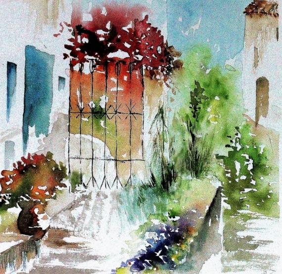 TABLEAU PEINTURE portail semi-abstrai Paysages Aquarelle  - Entrée du parc