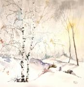 tableau paysages hiver bouleaux neige : Clarté