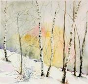 tableau paysages bouleaux semiabstra hiver foret bouleaux : Lumière