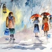 tableau personnages bourrasque semiabst pluie parapluie personnages sous la : Dans la rue