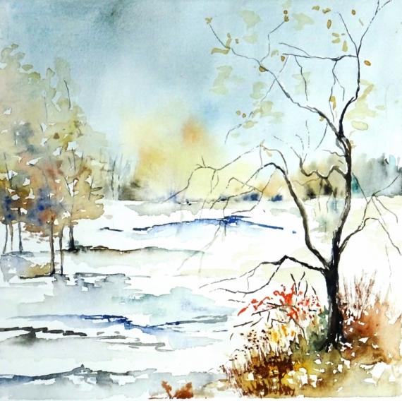 TABLEAU PEINTURE Neige semi-abstrait Arbre neige Hiver semi-abstrait Paysages Aquarelle  - Silence