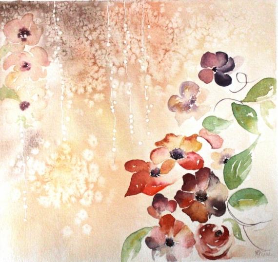 TABLEAU PEINTURE fleurs semi-abstrait Fleurs Aquarelle  - Sable