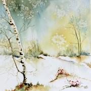 tableau paysages bouleaux semiabstra hivers bouleaux foret hiver : Matinale