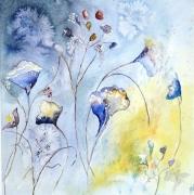 tableau fleurs fleurs semiabstrait : Fleurs Libellules Nuit