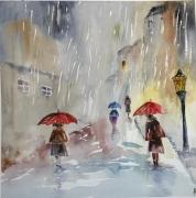 tableau villes pluie semiabstrait tempete semiabstrai parapluie semiabstr : Mélancolie