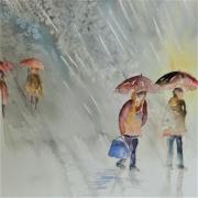 tableau paysages pluie semiabstrait parapluie tempete semiabstrai bourrasque semiabst : Novembre