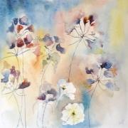 tableau fleurs fleurs semiabstrait : Fleurs Libellules Automne