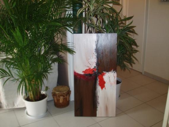 TABLEAU PEINTURE  - bois rouge