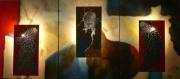 deco design abstrait triptyque luminaire tableau decoratif ciel : ROUGE,BLEU,ORANGE étoilé