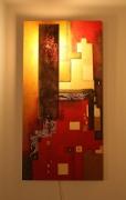 deco design abstrait tableau lumineux luminaire applique oeuvre d art or : SANS ISSUE (éclairé de nuit)